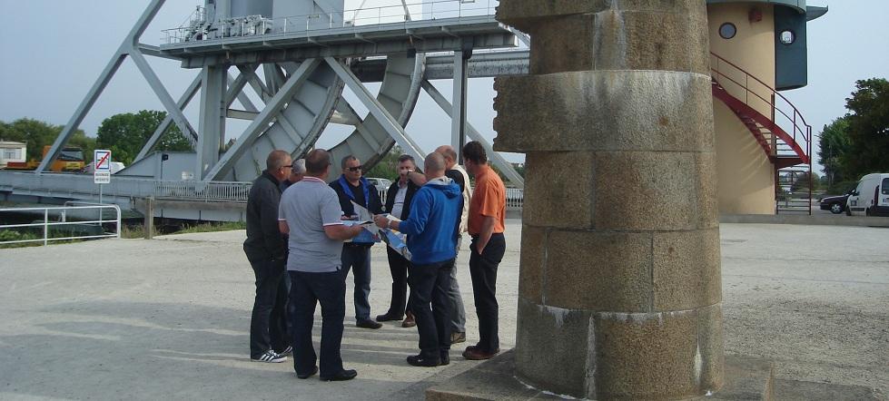 D-Day Tour Normandy, Malcolm Clough, Pegasus Bridge at the site of the battle for Pegasus Bridge. Normandy France