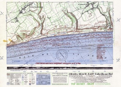 Omaha beach map. East section. D Day Tours 2
