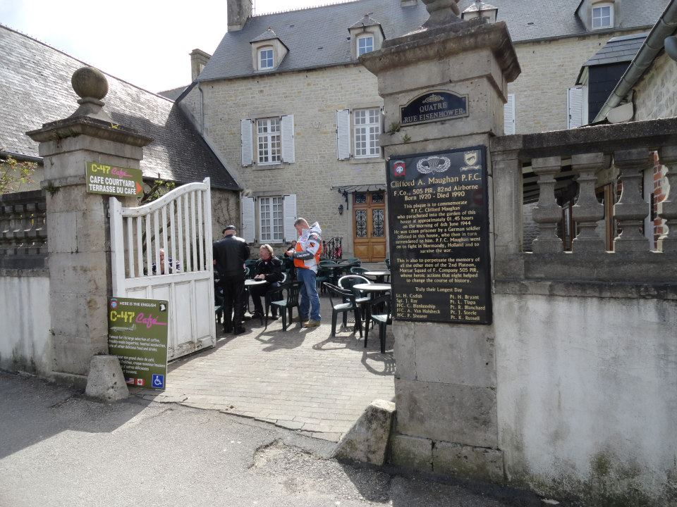 D Day Paratroopers F Company 505th PIR 82nd Airborne Division St Mere Eglise cafe courtyard Normandy