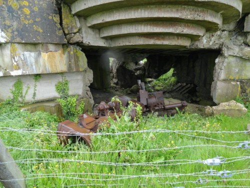 The smashed gun of No.4 casemate, Longues Sur Mer, the result of a direct hit by HMS Ajax on D-Day
