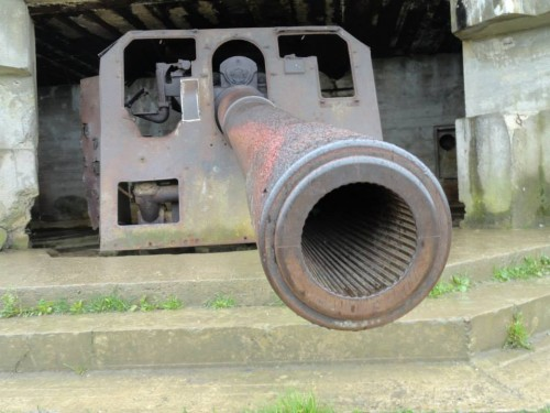 Close up of the rifling of a 155mm gun at Longues Sur Mer
