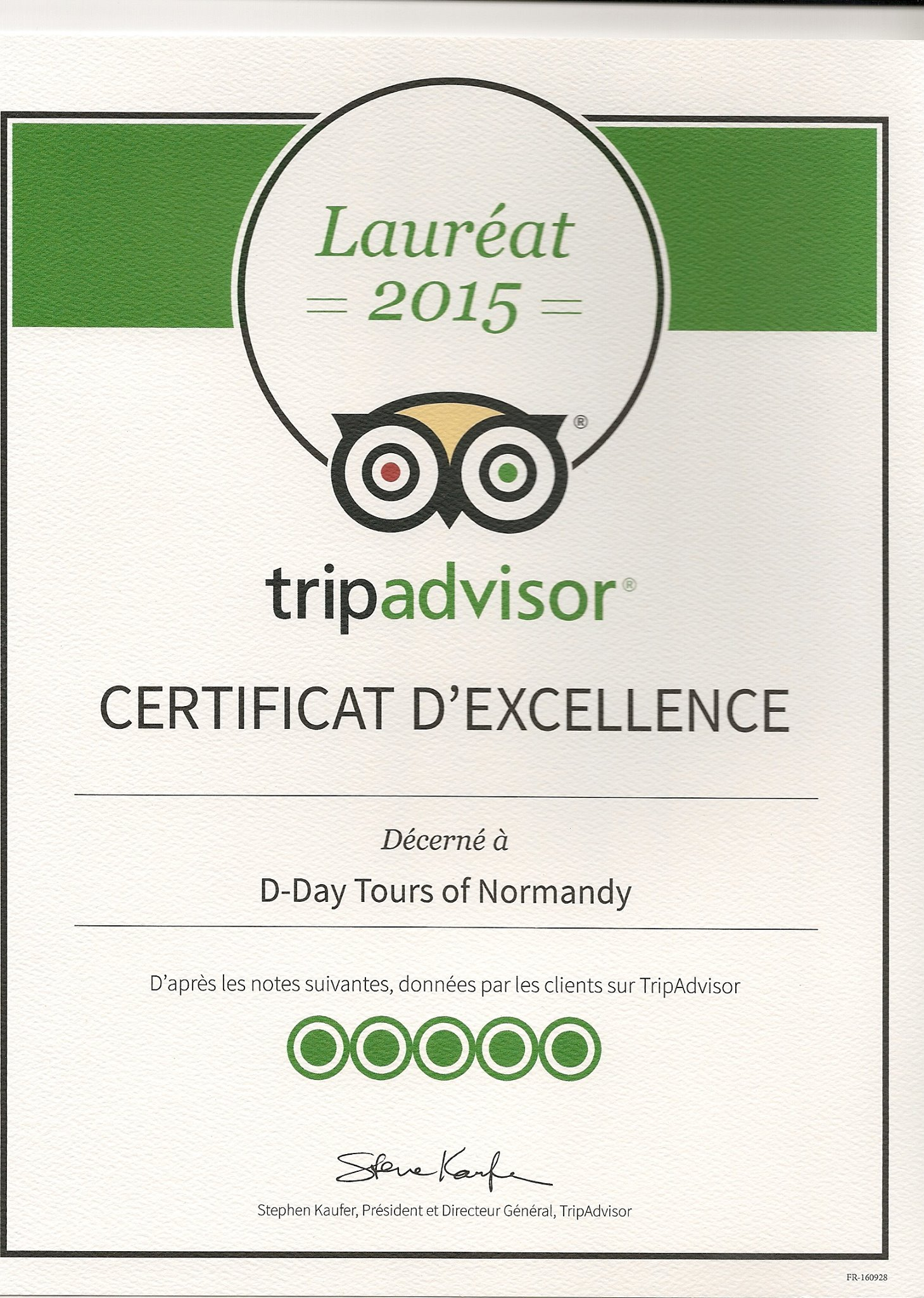 D Day Tours of Normandy TripAdvisor Certificate of Excellence