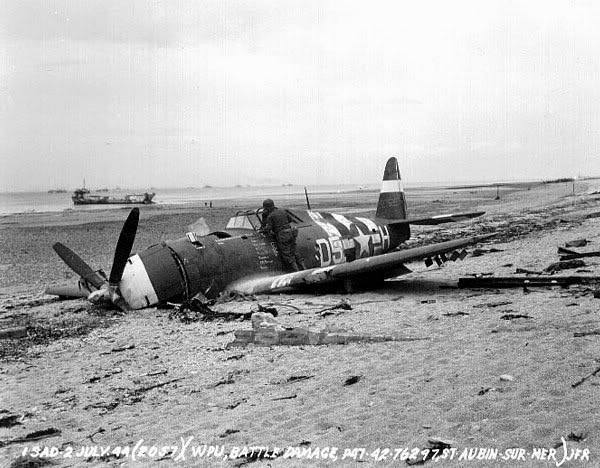 Juno Beach P-47 Thunderbolt wrecked at St Aubin Sur Mer