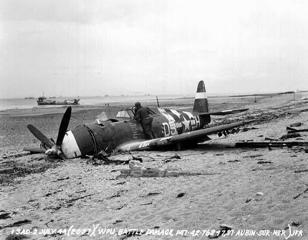 Juno Beach P-47 Thunderbolt wrecked at St Aubin Sur Mer